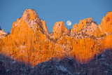 Moonset over Virgin Peaks