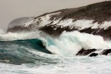 A huge wave breaking at Pouch Cove