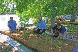 Planting a Floating Island in Recycled Plastic covered With Cocoa matting