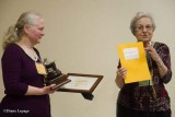 Karen McLachlan-Hamilton receiving the George McGee Service Award from Fenja