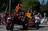 Pumpkin dude and old Farmall tractor