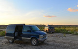 Two Astro vans, Bisti Wilderness area in New Mexico.