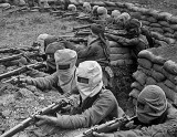 1915 - Indian infantry in gas masks