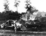 c. 1917 - An aircraft crashed and burning in German territory