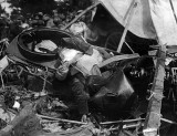 1918 - A German pilot lies dead in his crashed airplane
