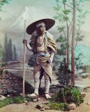1880 - Pilgrim on his way to climb Mount Fuji