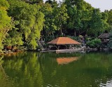 Pond with viewing pavillion