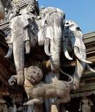 Elephants with lion-dog