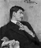1910 - Portrait of writer Korney Chukovsky (in black and white)