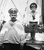 June 1908 - Alexei with his sailor nanny Andrei Dereven'ko