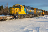 Freight 419 at Moosonee 2014 January 31st: 1802 and 2200