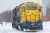 GP40-2 2202 and GP38-2 1801 at Moosonee