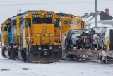Polar Bear Express arriving February 7 2014 past freight engines.