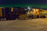 Spreader train under the Northern Lights in Moosonee.