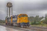 Locomotives in the rain. GP38-2 1802 and GP40-2 2202.