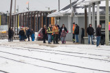 People waiting for the arrival of the Polar Bear Express 2015 December 23rd.