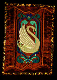 Art Deco Swan on silk with pleated borders..jpg