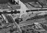 1928 aerial view of Parker St crossing, Merrimack St and future site of B&M station
