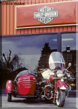 1948 Indian In Front Of Performance Harley Dealership