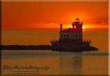 Oswego Lighthouse At Sunset