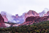 Red Rock Country with morning mist and snow