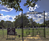 The Lawrence Cemetary and chapel sign.