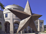The huge star in front of the Texas State History Museum in Austin. TX