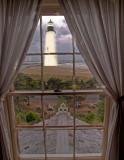 Photoshopped image Lighthouse placed in window image