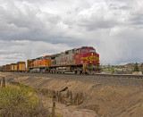 BNSF southbound manifest train along I-25.