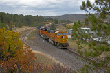 BNSF coal load traveling through the fall colors.