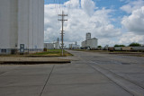 Looking at four grain elevators is a small area.