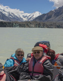 We catch a view of the Tasman Glacier Snout from Lake Tasman