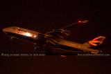 2013 - British Airways One World B747-436 G-BNLI night takeoff aviation airline stock photo