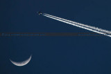 2014 - the crescent moon and Delta Air Lines flight #981 B737-732(WL) N307DQ enroute at 39,000 feet from ATL to BOG