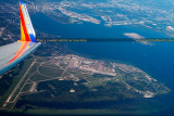 2014 - aerial photo of MacDill Air Force base, Davis Islands, and downtown Tampa landscape stock photo #4793