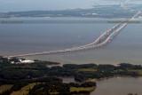 2014 - aerial view of the Chesapeake Bay Bridge landscape stock photo #5580C