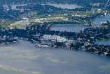 2014 - aerial photo of Shore Acres (foreground on right) and east end of Snell Island (condos) landscape stock photo #5914C