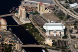 2014 - aerial photo of the Tampa Marriott Waterside Hotel and Tampa Convention Center (top) landscape aerial stock photo #6127C