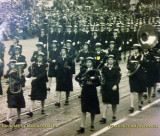 1945 - closeup of Doris Smoak Ford marching in the Coast Guard SPARS band in Washington, DC