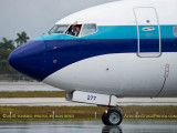 New Eastern Airlines B737-8CX N277EA taxiing with friendly captain waving aviation airline stock photo