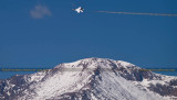 2016 - Air Force Thunderbird and the summit of Pike's Peak military aviation stock photo #4811