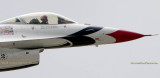 2016 - closeup of Air Force Thunderbird #2 taking off from Peterson Air Force Base military aviation stock photo #4857C
