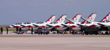 2016 - Air Force Thunderbirds #1 thru 4 (canopies down) parking at Peterson AFB military aviation stock photo #4883