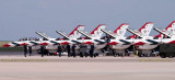2016 - seven Air Force Thunderbirds parked on the ramp at Peterson AFB military aviation stock photo #4886