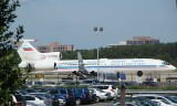 Tu-154 parked among the much smaller business jets in IAD