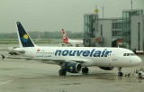 Nouvelair A-320 being pushed back to start its journey back to Tunisia