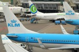 A flock of KLM tails in AMS, April 2014