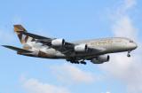 Etihad A-380 approaches JFK 4R, Aug 2016.