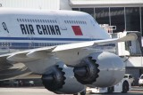 Close up of the wing and the engines of the Air China B-747-8