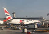 BA 777 in special livery for a Chinese fashion designer